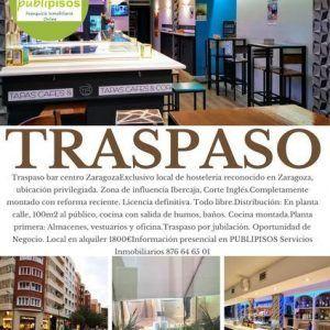 Traspaso Bar Copas Zaragoza Centro