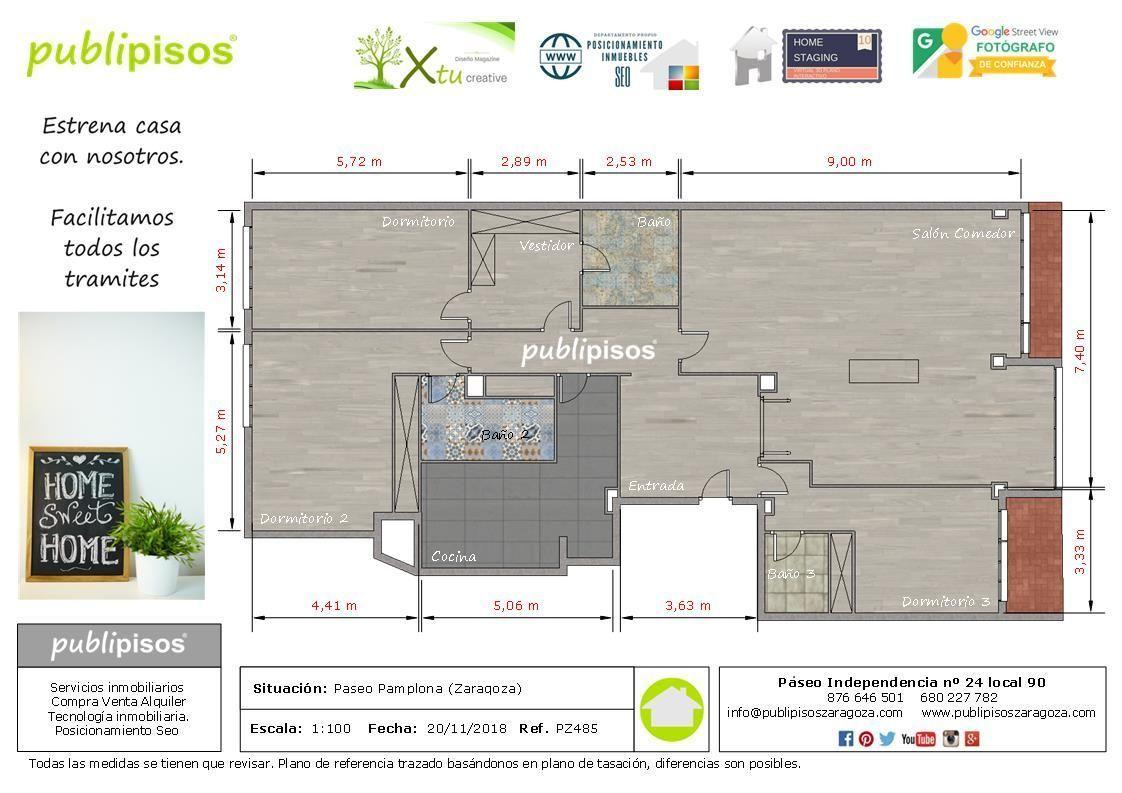 Plano texturizado para vender pisos en Zaragoza | Venta de pisos en Zaragoza