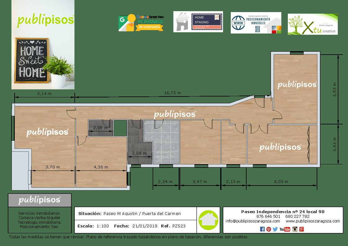 Plano planta Piso OCASION centro Zaragoza