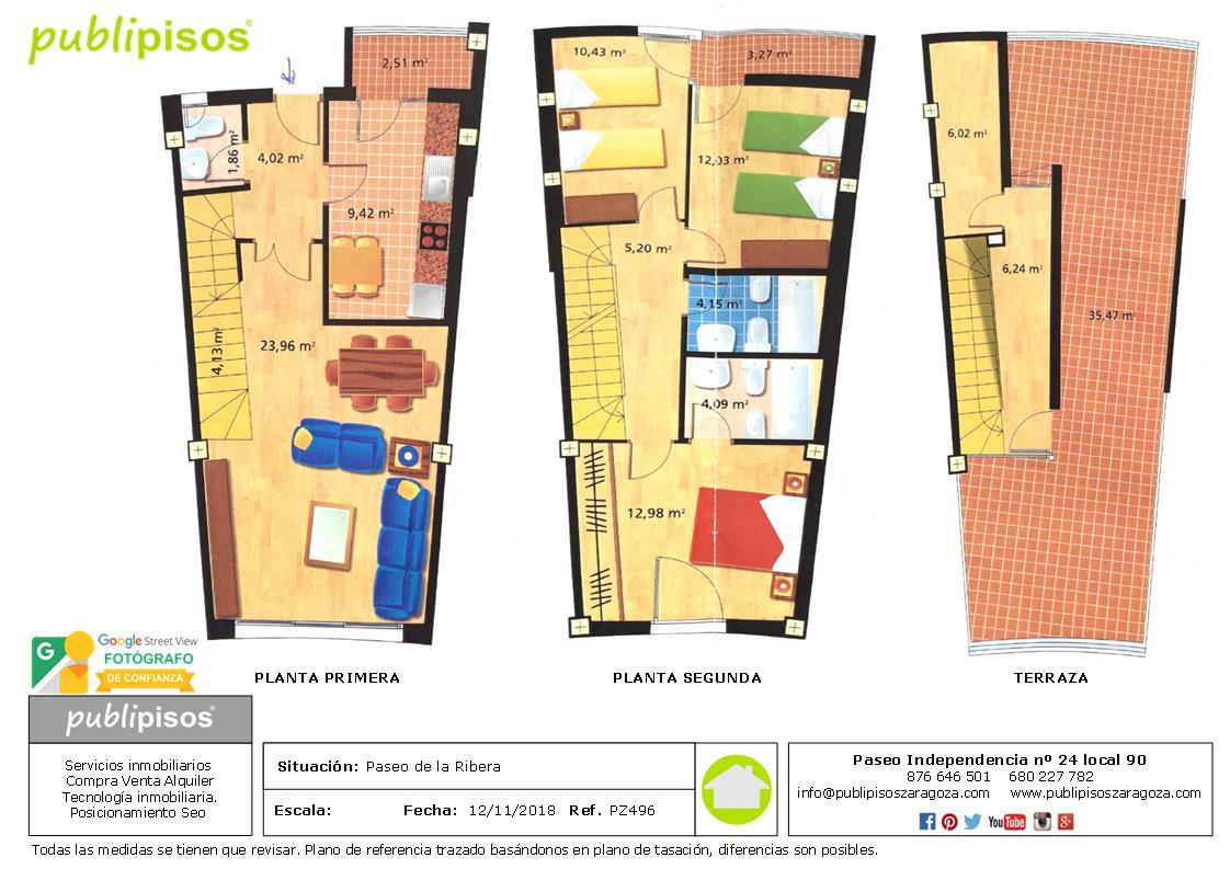 Plano Duplex Lujo Paseo de la Ribera Inmobiliarias Zaragoza Publipisos