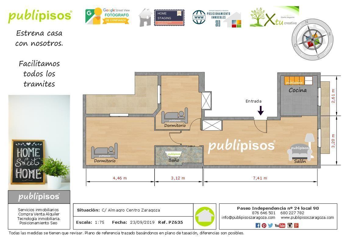 Plano distribución piso obra nueva centro Zaragoza