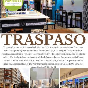 Traspaso bar tapas centro Zaragoza