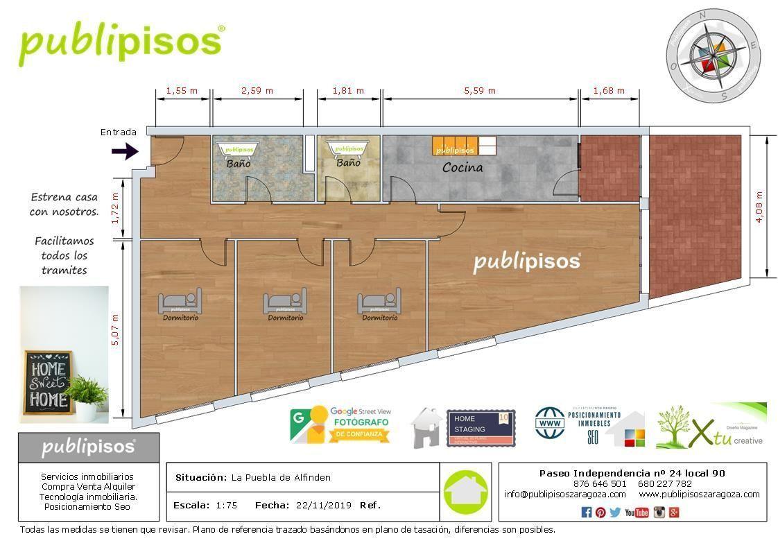 plano piso venta la puebla de alfinden Zaragoza_1